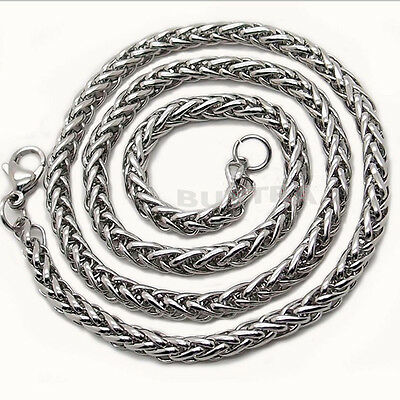 """Popular 3/4/5/6MM 20"""" Mens Silver Stainless Steel Wheat Braided Chain Neckl BB"""