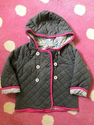 Girls Baby Boden Grey Quilted Jacket With Floral Lining Age 2-3 Years