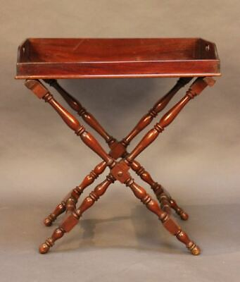 19thc. Mahogany Butler's Tray on turned framed stand