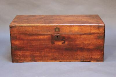 19thc. Camphor Wood Chest with brass straps & large brass carrying handles