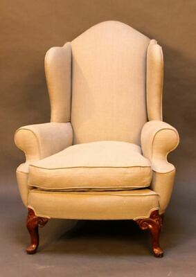 19thc. Walnut Wing Armchair  with carved cabriole legs.  Upholstered in linen