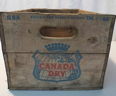 Vintage Canada Dry Soda  Beverages Ginger Ale Wooden Crate 1968 box metal edge
