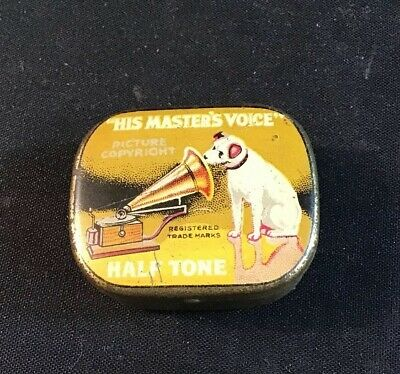 Authentic Vintage His Master's Voice Hmv Half Tone Gramophone Needle Tin Needles