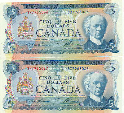 Bank Of Canada Lot Of 2 In A Row 5 Dollars 1972