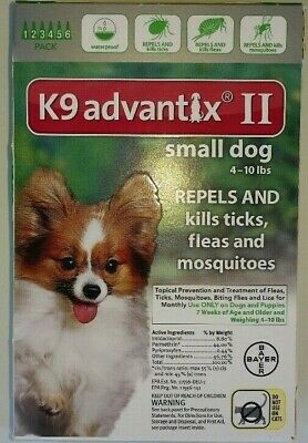 NEW BOX OF ADVANTIX II FOR  DOGS 4 to 10 LBS 6 DOSES FREE SHIPPING