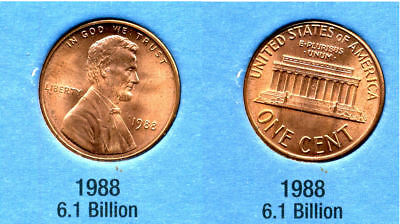 1988 P ABE Lincoln Memorial AMERICAN PENNY 1 CENT US U.S AMERICA ONE COIN #B1