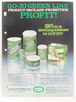 """Vintage 1978 GO-JO Collectible Jobbers """"Hand Cleaner"""" SELL SHEET Advertising"""