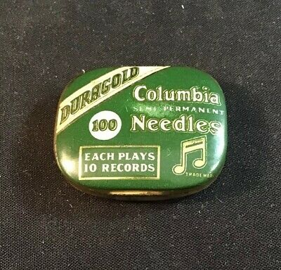 Vintage Duragold Columbia Semi Permanent Needles In Tin - Great Condition