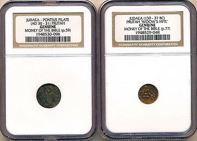Ancient Judaea Lot Of 2 Money Of The Bible Coins - Ngc Graded Genuine