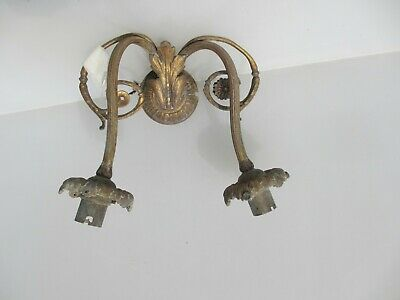 Antique French Brass Wall Light Sconce Old Gilt Leaf Victorian Rococo Baroque