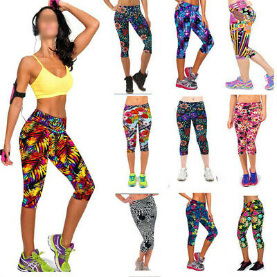 Womens Gym Leggings Yoga Ladies Active Running Fitness Exercise 3/4 Capri Pants