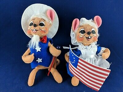 "2013 Annalee Mobilitee, 6"" Betsy Ross, Uncle Sam Mouse, July 4Th, Patriotic"