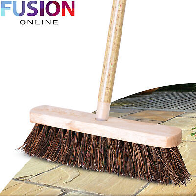 Outdoor Broom Stiff Bristle Sweeping Home Garden Brush 1.2m Long Wooden Handle