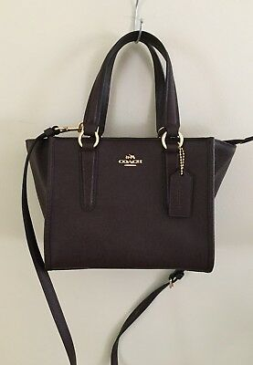 d61d777f55fb NWT Coach F11925 Crossgrain Leather Crosby Carryall 21 Satchel Handbag  Oxblood 1
