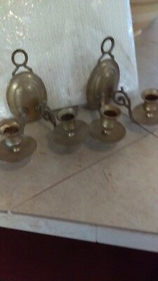 Brass Candle Sconces double  two  holds four candles