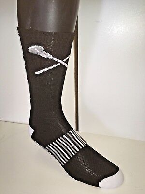 Lacrosse Logo   Socks (Black/White,) Moisture wicking Poly pro USA  Med 10 pair
