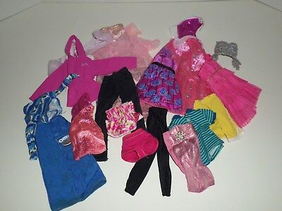 Barbie Bratz Monster High Doll Clothes Lot Of 17 Items Dresses Skirts Super Cute