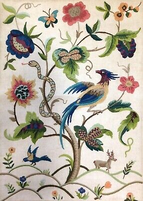 Stunning Vintage Hand Embroidered Picture Panel Jacobean Hoho Bird Snake Stag
