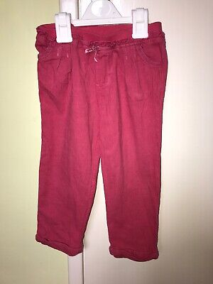 Girls Monsoon Pink Fine Cord Trousers Age 2-3 Years
