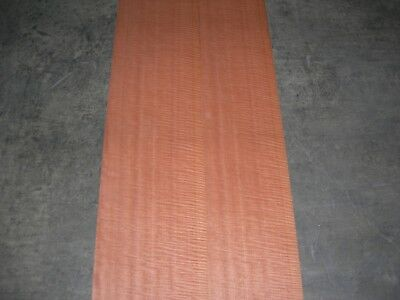 Fiddleback Makore Wood Veneer. 9.5 x 115, 4 Sheets.