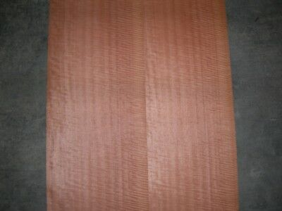 Fiddleback Makore Wood Veneer. 12 x 115, 4 Sheets.