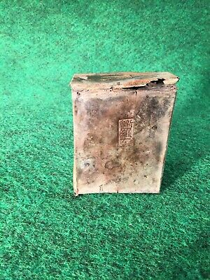 Antique 1800s Chinese Opium Can Stamped Tin Box Brass Gold Rush Lamp Container B