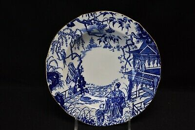 Royal Crown Derby England Blue Mikado Rimmed Soup Bowl (6 Scallop)