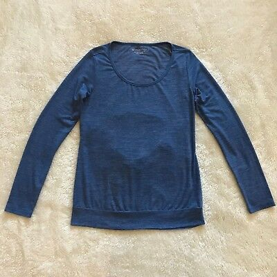 c485260314882 Beyond Yoga Cowl Back Tee Top Activewear Blue Size S Small Long Sleeve  Heathered