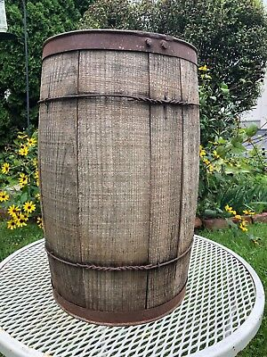 "Antique Wood Nail Keg Style Barrel -18"" x10 1/2 """