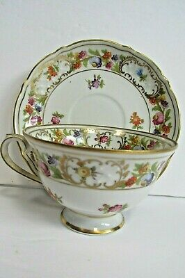 Schumann Empress Dresden Flowers Footed Cup & Saucer