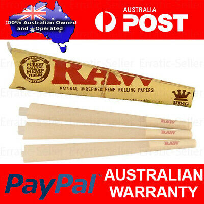 4x RAW Pre-Rolled Organic Hemp Cones - Total 12 Cone Papers King Size Joint