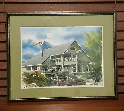 Framed Watercolor by Colville '84 Florida Scene with House & Little Boat w Palms