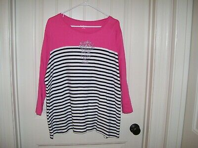 Kim Rogers Womens Pink Multi-Colored Striped Top 3/4 Sleeves Size 3X Worn Once