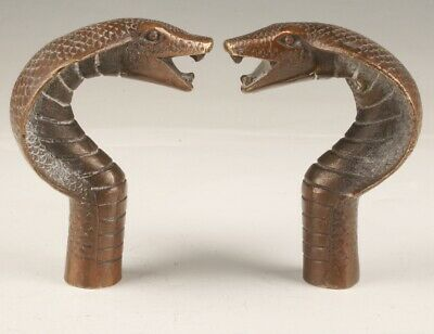 2 Chinese Bronze Hand Casting Cobra Walking Stick Head Collection Handle