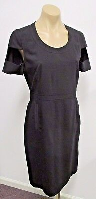 GIVENCHY Paris Black Lightweight Wool Dress w/ Cutout Short Sleeves
