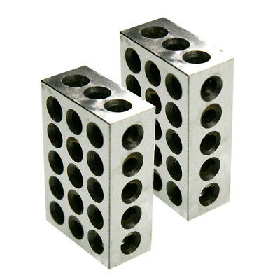 "1 MATCHED PAIR ULTRA PRECISION 1-2-3 BLOCKS 23 HOLES .0001"" MACHINIST 123 New"