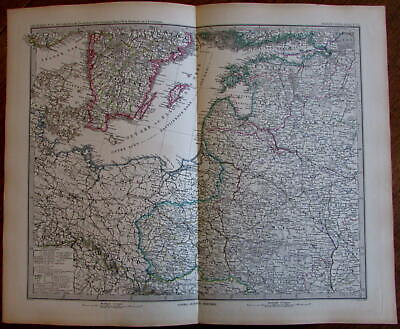 Polen Poland Prussia Baltic Ost Sea Livonia 1883 Stieler detailed old map