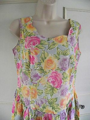 GORGEOUS **ST MICHAEL ** vintage floral cotton dress ~ size 8/10 ~ calf length