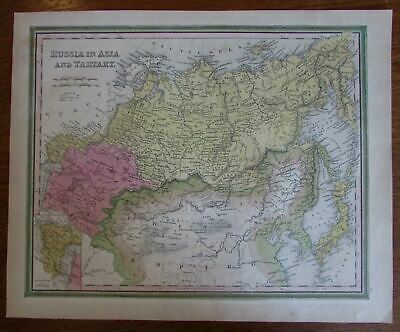 Russia in Asia Tartary China Japan c.1846 Mitchell scarce antique map