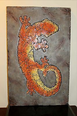 "19"" SOUTHWESTERN MOSAIC Wall Hanging LIZARD - Vibrant Colors of Inlaid Glass"