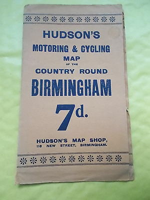 An Old Hudson's Motoring & Cycling map Of The Country Round Birmingham GW Bacon