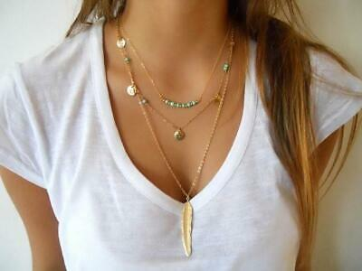 ~NEW~TRIPLE LAYER  GOLD BOHO FEATHER CHARM NECKLACE w/ GIFT BOX -USA SELLER