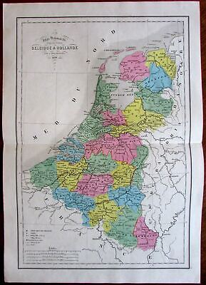 Holland Netherlands Belgium Low Countries Amsterdam 1856 antique hand color map