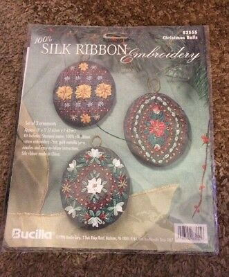 Bucilla Silk Ribbon Embroidery Christmas Balls #83555