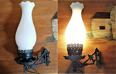Vintage Swivel Cast Iron Wall Mount Oil Lamp Holder Converted Electric w/Bracket