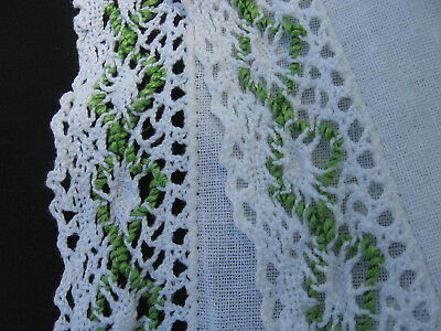 antique vtg natural linen table runner Green white Crochet lace edge trim 40""