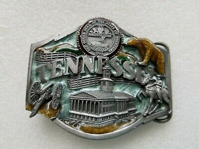 Vintage 1988 Tennessee Belt Buckle #Q-35 State Seal Bear Horse Pewter Enamel