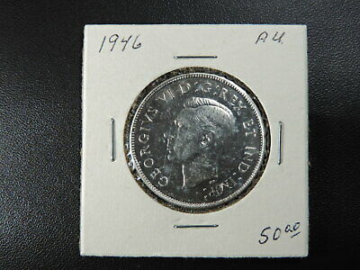 1946 50 Cent Coin Canada King George VI Fifty Cents Narrow Date .800 Silver AU