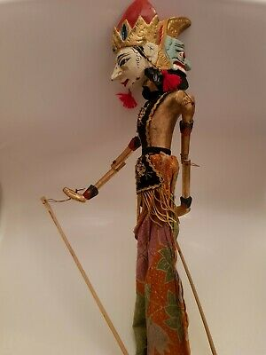 Vintage Asian/Oriental Large Marionette Stick Puppet With Double Head