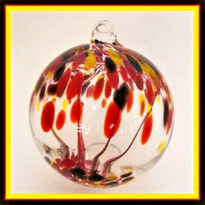 """Hanging Glass Ball 4"""" Diameter """"Vermont Fall Tree"""" Witch Ball (1) WB112"""